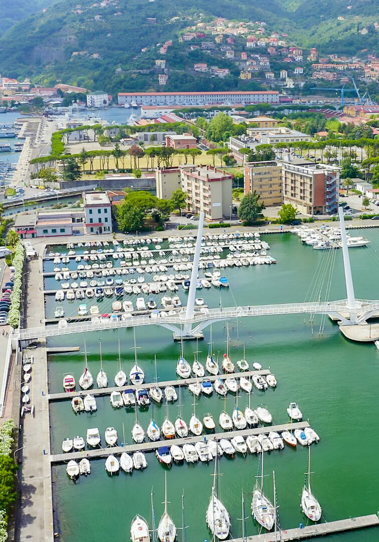La Spezia, Italy. Bridge Thaon di Revel. View from above, Aerial View