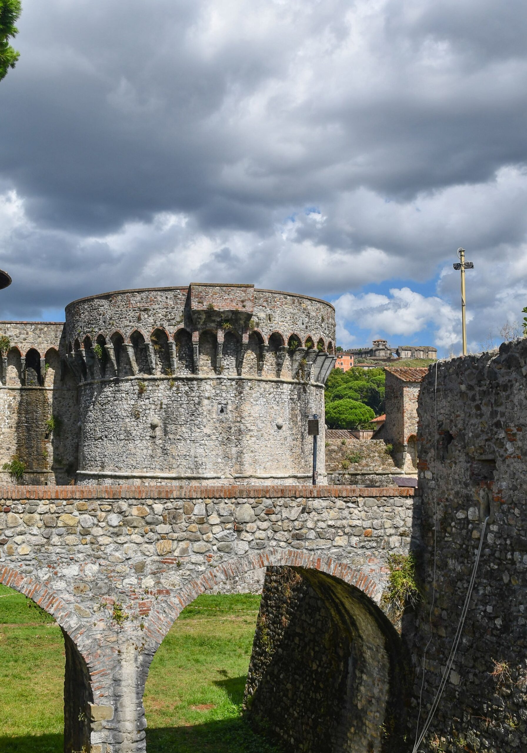 Sarzana, La Spezia | Italy - August 30 2020: View of the fortress Cittadella of Sarzana (13-15th centuries),  today used as a venue for cultural events and exhibitions